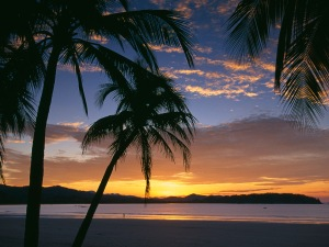 Solitary figure on Playa Sumara at sunrise, Nicoya Peninsula, Guanacaste, Costa Rica